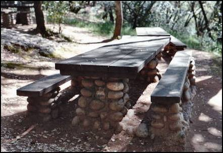 Picnic table located in Marshall Gold Discovery SHP