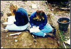 Jereann Lefever and Jenni Toedtemeier writing field notes.