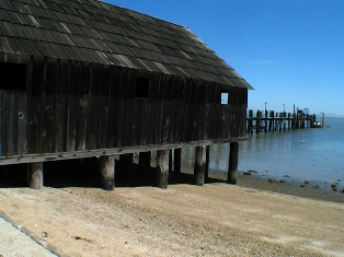 China Camp State Park buildings sit on the water's edge.