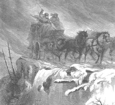 Driving at night in a storm, Harpers Weekly, 1868