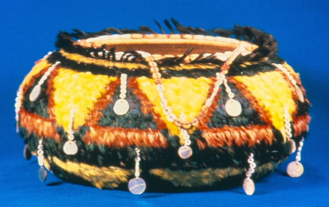Feather and Tasseled Basket