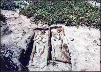 Exposed human remains.