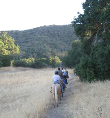 Group trail riding in Malibu Creek State Park