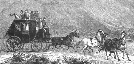Stagecoach drawing from Transportation: Pictorial Archive by J. Harter