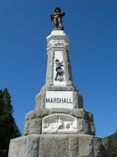 The James Marshall Monument is one of the many historic structures at the Marshall Gold Discovery State Historic Park