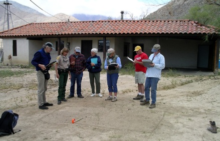 Ranger teaching stewards about footprints.