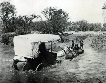 Stagecoach Crossing River. Part of the California State Parks photographic collections.