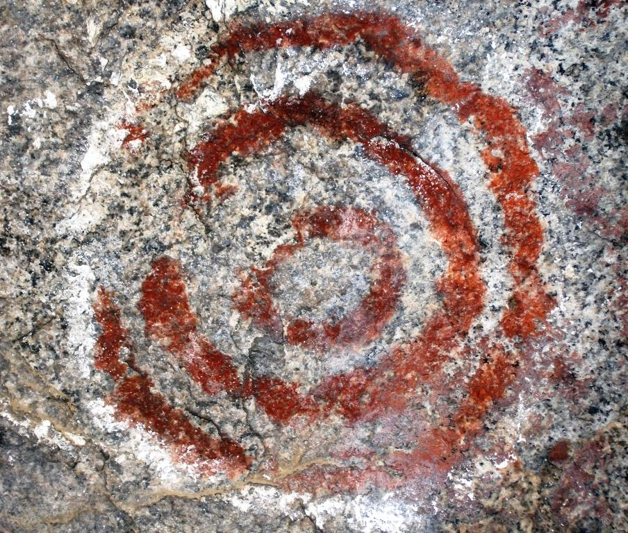 Example of Southern Sierra Rock Art. Concentric Circles from Exeter Rocky Hill. Photo by Kelly Long