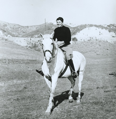 Ronald Reagan riding at his Malibu Ranch in 1958. Photo Courtesy of the Reagan Family. Copyrighted.