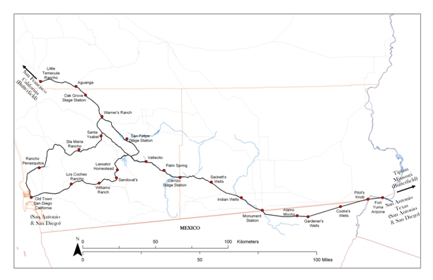 San Antonio to San Diego Mail Route