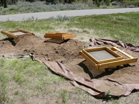 Screens at Grover Hot Springs excavation