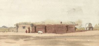 Vincent Colyer's watercolor of stage station, 1871