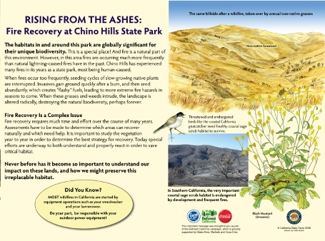 Fire Recovery Interpretive Panel at Chino Hills State Park
