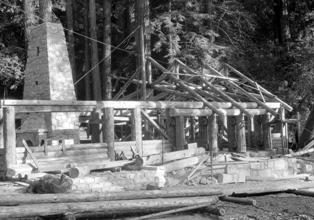 CCC administration building construction at Big Basin in 1936