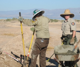 California Conservation Corps member and State Parks staff