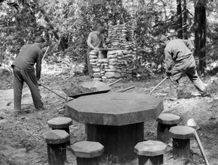 CCC crew works on Sawmill Flat campsite at Pfeiffer Big Sur in 1934