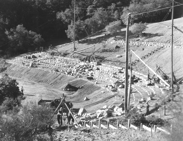 CCC building the Mountain Theatre at Mount Tamalpais in 1939