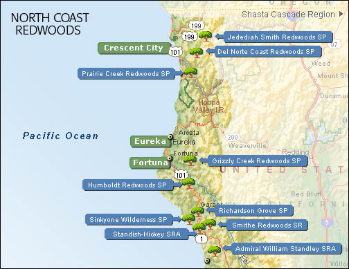 Northern California Coast Redwood Parks Map