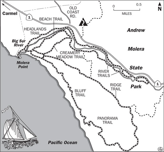 Beach, Headlands Trails Map