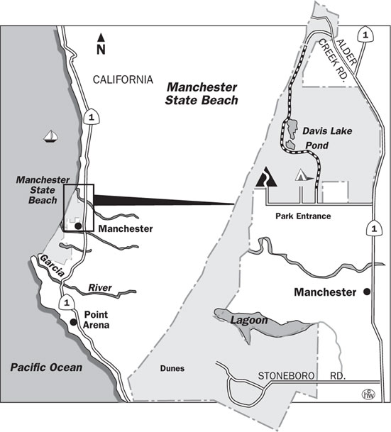 Manchester Beach, Alder Creek Trails Map