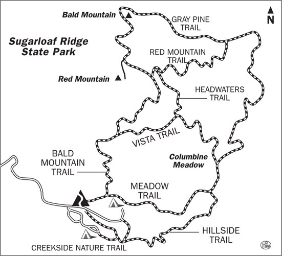 Bald Mountain, Vista, Gray Pine, Meadow Trails Map