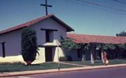 """Photo: Exterior view of of the Sonoma Mission at Sonoma SHP."""