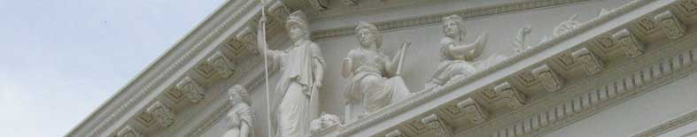 Outside View of statuary on the entrance to the Capitol building at the California State Capitol Museum