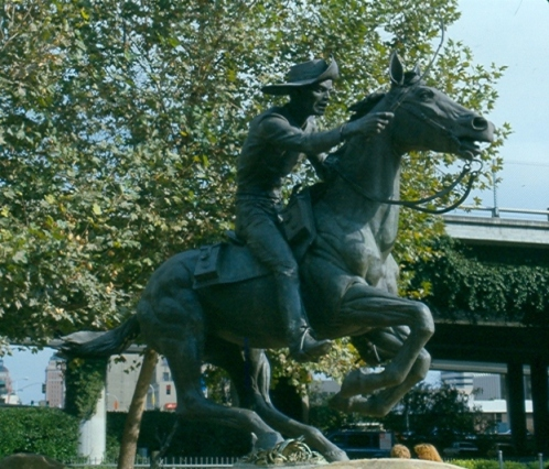The Pony Express Statue in Old Sacramento was made by Thomas Holland.