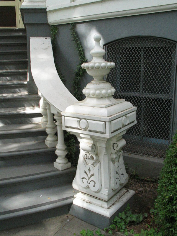 Detail of stair case approaching main entry.