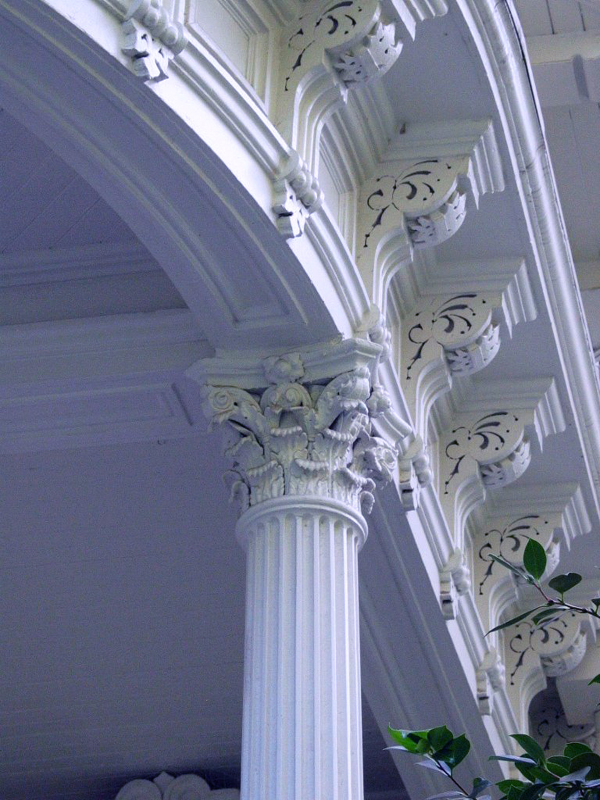Architectural Detail (column and dentil moulding) on mansion.
