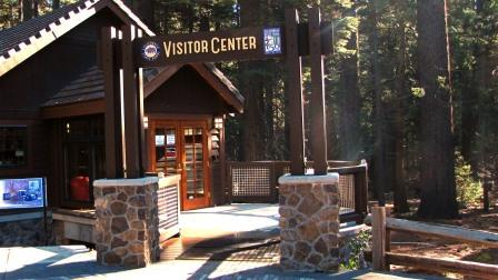 Entrance to the new visitor center at Calaveras Big Trees State Park.