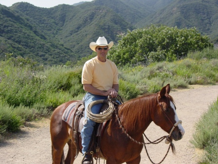 "Brad Langenberg and his horse ""Lena"""