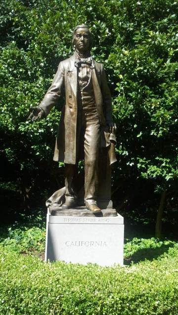 Statue of Thomas Starr King in the Civil War Memorial Grove at Capitol Park.  His passionate lectures and persuasive religious arguments convinced thousands of Californians to support the Union.