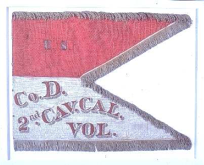 Battle Flag of the 2nd California Cavalry, Company D.  This unit was directly incolved in miiltary action against the Owens Valley Paiute, and assisted in the forced removal to the San Sebastian Indian Reservation near Ft. Tejon.